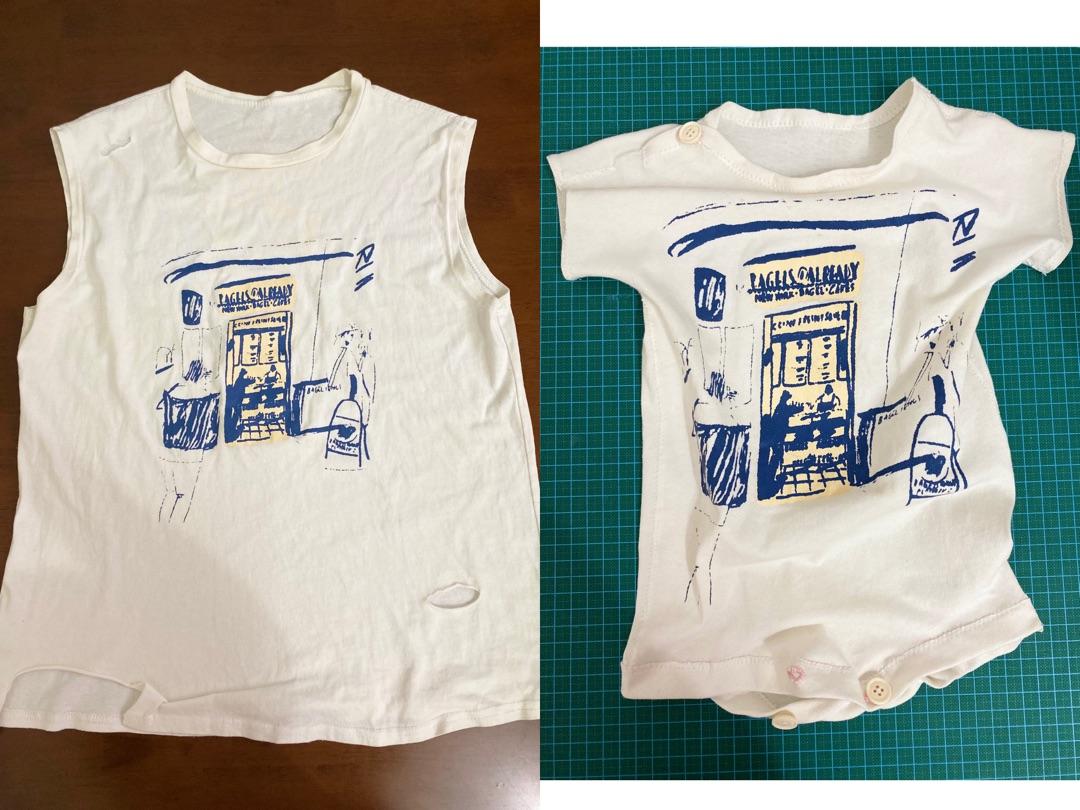 原创 T恤改婴儿连体服 旧物改造