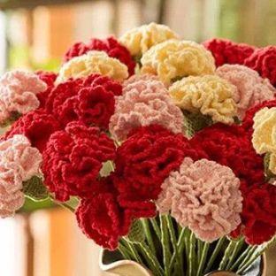 钩针 康乃馨花束-母亲节礼物