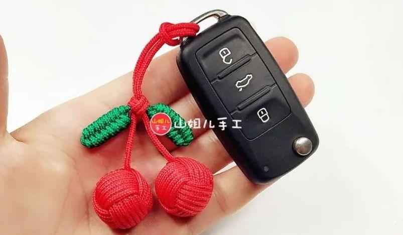 小樱桃钥匙扣,手工编织伞绳小挂件视频教程分享