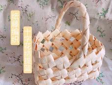 纸藤编织—十字花结提篮