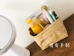 这是用水洗牛皮纸制作的置物袋,方法简单,适合新手。也可以用12A以上的帆布制作。(帆布需锁边或卷边处理)