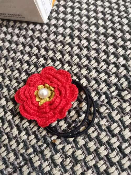 送你一朵小红花🌸发绳 第7步