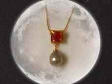 夹镶碧玺方形切面珠吊大溪地巴洛克珍珠