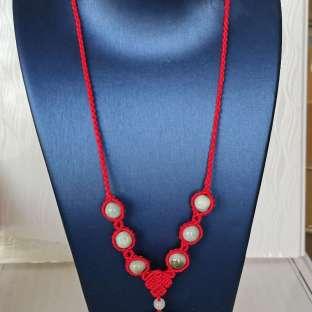 简易玉石编织项链